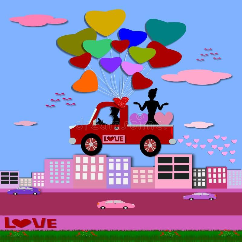 Kortet för hälsningen för dagen för valentin` s, par älskar illustrationen papperssnittstil stock illustrationer
