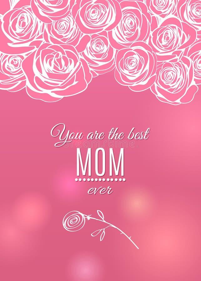 Kortet för hälsningen för den lyckliga dagen för moder` s steg det rosa med blommaramgränsen royaltyfri illustrationer