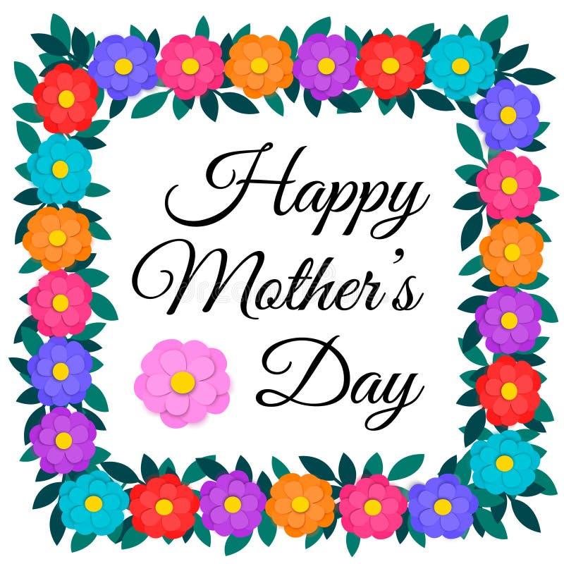 Kortet för hälsningen för moderdagen med färgrikt papper klippte ut blommor och ramen eller gränsen för grön girland för sidor bl royaltyfri illustrationer