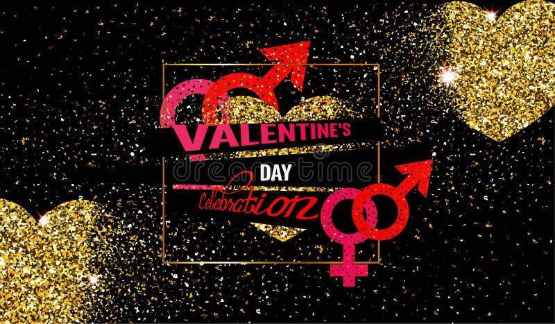 Kortet för inbjudan för beröm för dagen för valentin` s med guld texturerade att smula hjärtor royaltyfri illustrationer