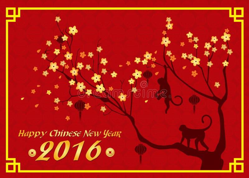 Kortet för lyckligt nytt år 2016 är lyktor, apan och trädet royaltyfri illustrationer