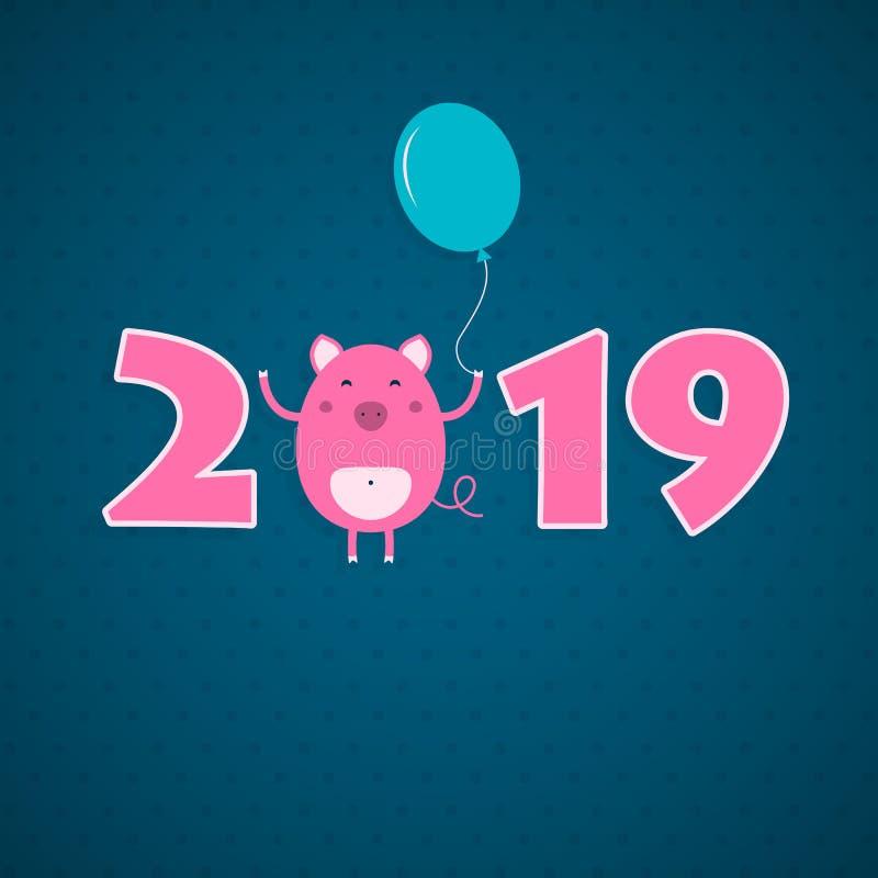 Kortet för nytt år 2019 med svinet stock illustrationer