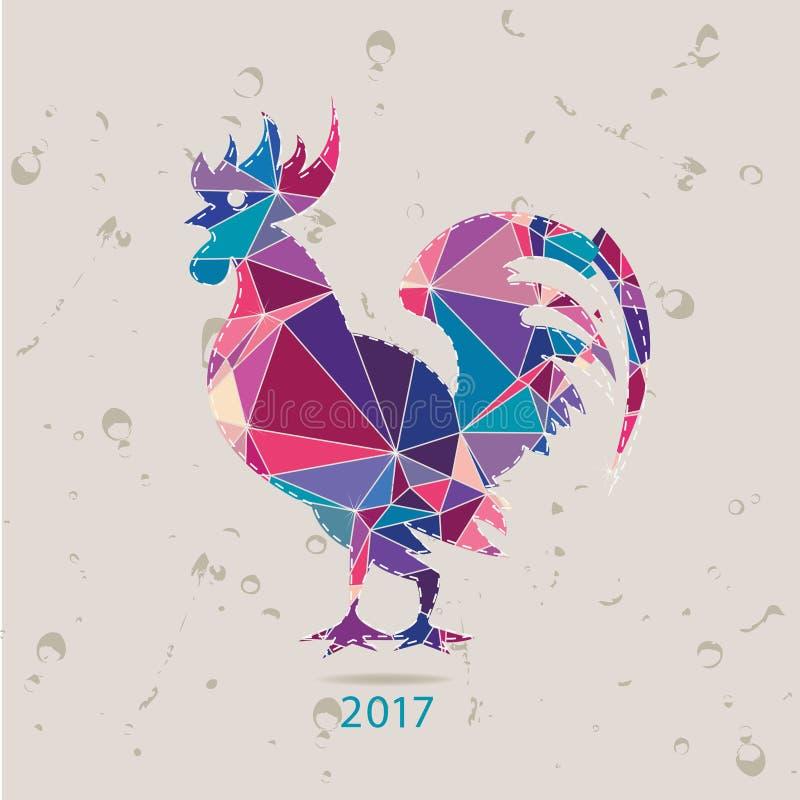 Kortet för nytt år 2017 med tuppen stock illustrationer