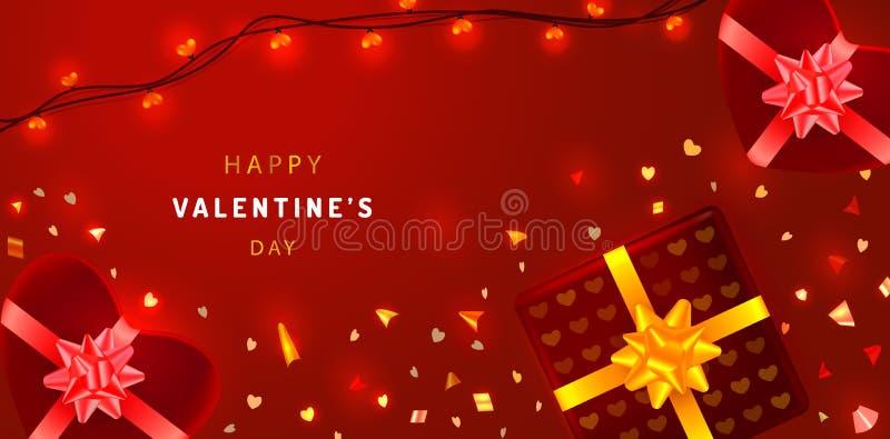 Kortet för valentindaghälsningen med mousserande konfettier, hjärta formade gåvaaskar och girlander Befordranbaner på röd bakgrun stock illustrationer
