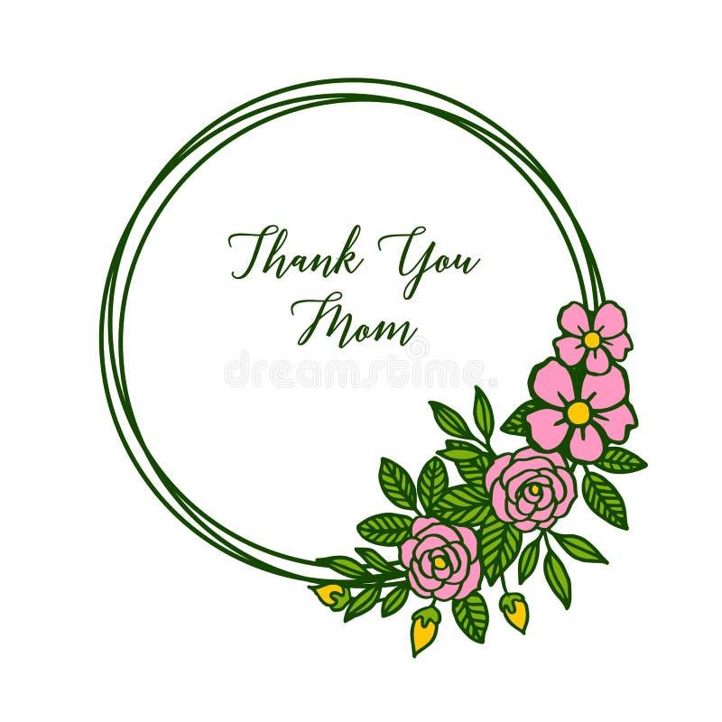 Kortet för vektorillustrationstil tackar dig mamman med den rosa blommaramen för olik skönhet stock illustrationer