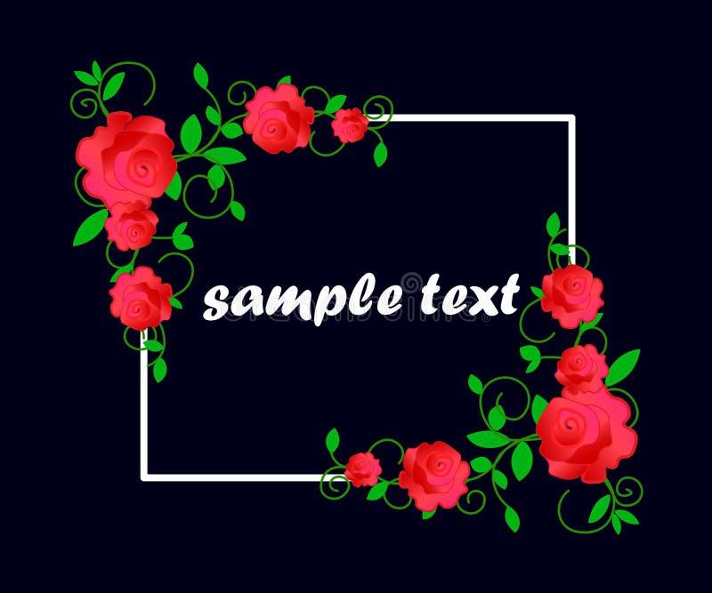 Kortet med blommor, vattenf?rg, kan anv?ndas som inbjudankortet f?r att gifta sig, f?delsedagen och annan ferie och sommarbackgro royaltyfri illustrationer