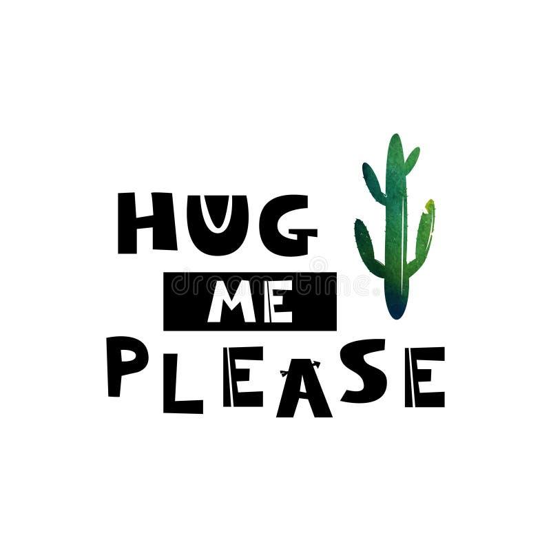 Kortet med den gröna kaktuns och texten ger mig som en kram behar Skandinaviska stilillustrationer Design för textilen, tapet, ty royaltyfri illustrationer