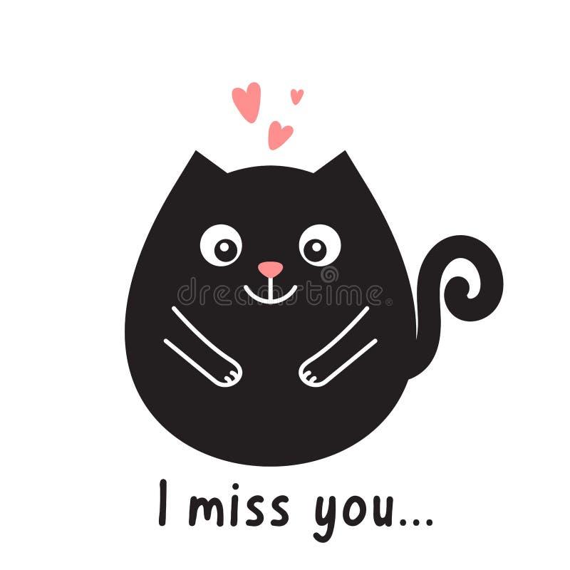 Kortet med den svarta katten, rosa hjärtor och text missa jag dig royaltyfri illustrationer