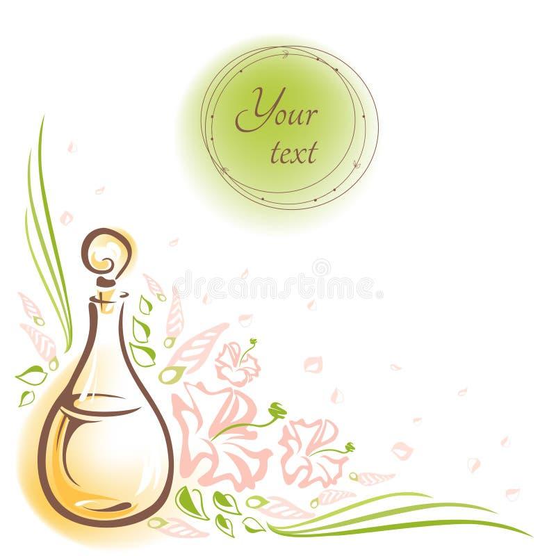 Kortet med glasflaskaskönhetsmedlet oljer, blommar, slår ut och sidor vektor illustrationer