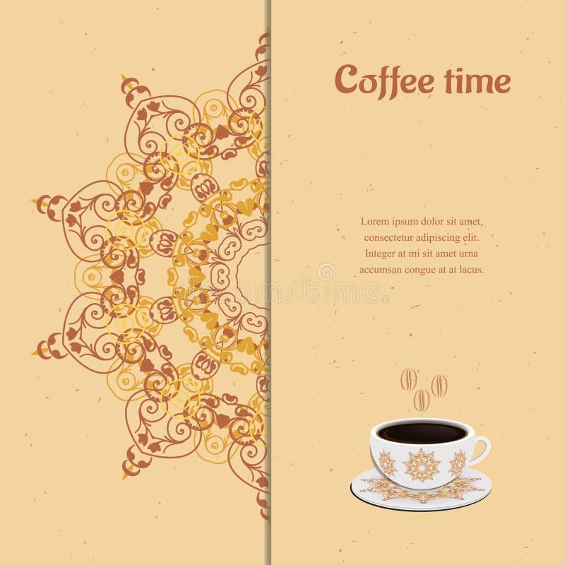 Kortet med kuper av kaffe vektor illustrationer
