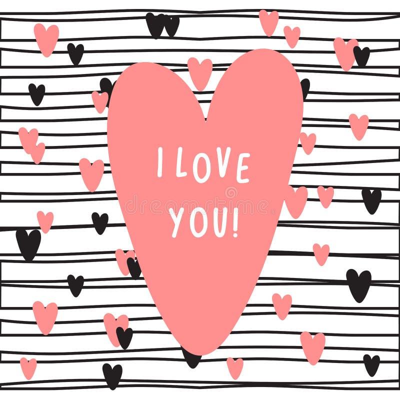 Kortet med rosa hjärta och text älskar jag dig stock illustrationer