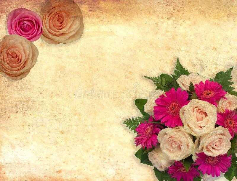 Kortet med rosor blommar på tappningbakgrund för valentin och brölloplyckönskan och inbjudningar stock illustrationer