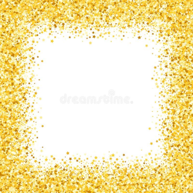 Kortet med skimrar Hälsningskort med stjärnor Guld- gnistrande shimmer sparkles Guld- ram av hjärtor stock illustrationer