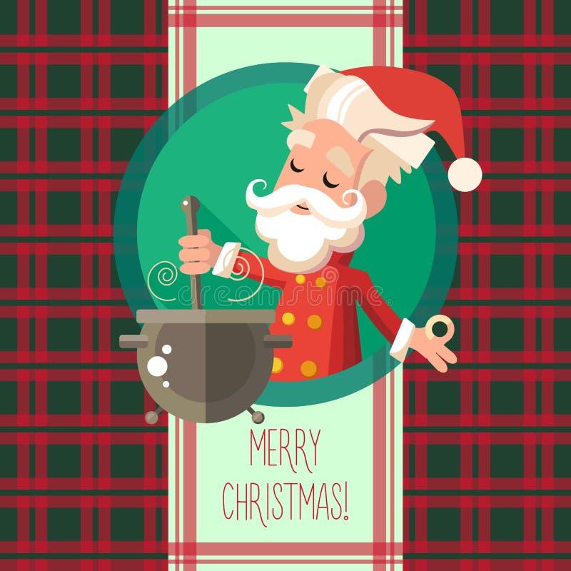 Kortet med tecknad filmälvan för jul och det nya året festar stock illustrationer