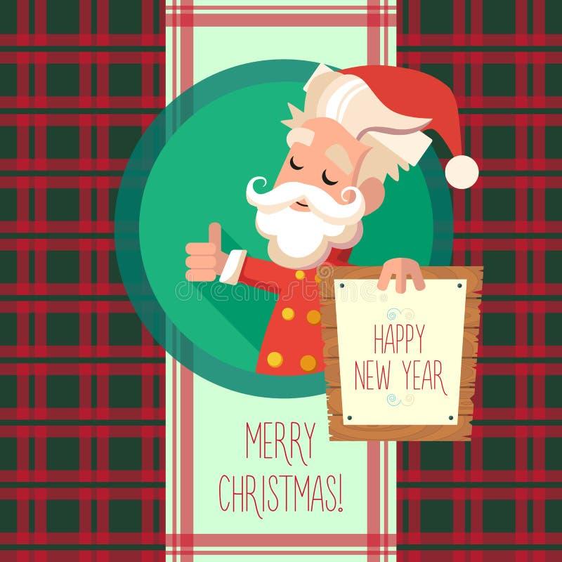 Kortet med tecknad filmälvan för jul och det nya året festar royaltyfri illustrationer