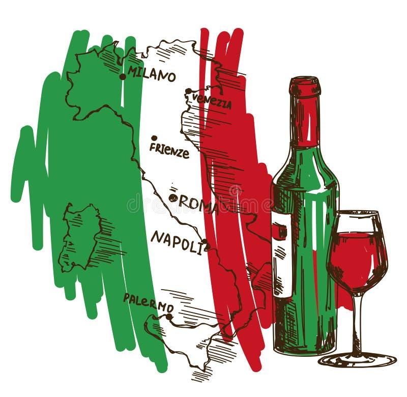 Kortet med vinflaskan, exponeringsglas och den Italien översikten i nationsflagga färgar stock illustrationer