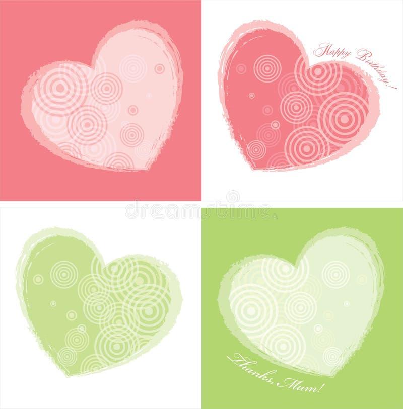 kortfärger planlägger hjärta två vektor illustrationer