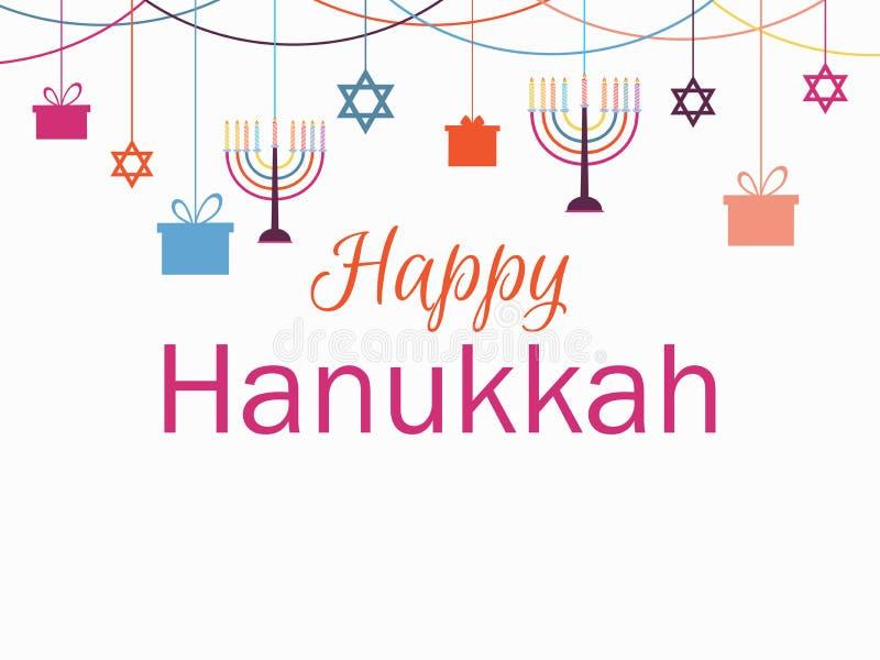 korthälsning lyckliga hanukkah Ljusstake med nio stearinljus Girland med hängande gåvor vektor stock illustrationer