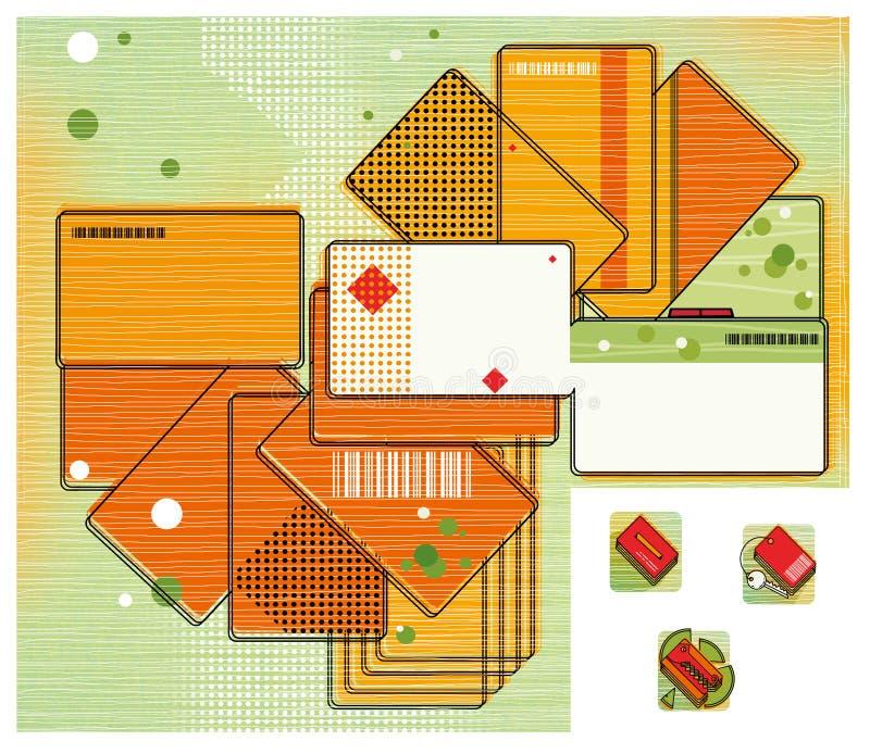 Korting en betaalpassen in de vorm van een ventilator Een kaart van multi-colored kaarten Digitale illustratie vector illustratie