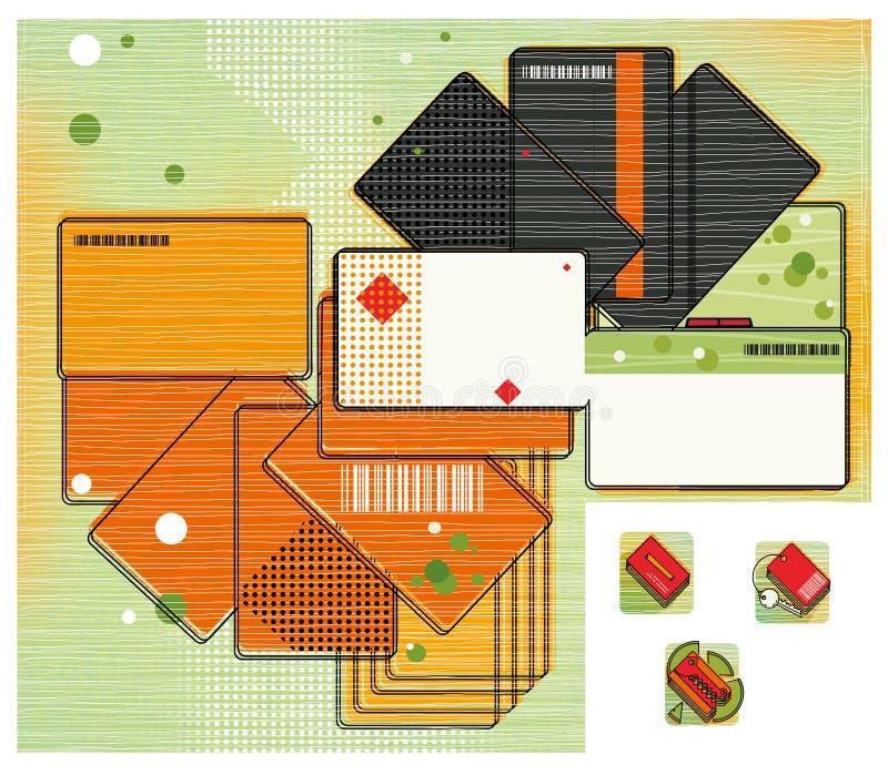 Korting en betaalpassen in de vorm van een ventilator Een kaart van multi-colored kaarten Digitale illustratie royalty-vrije illustratie