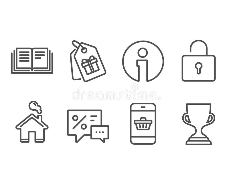 Kortingen, Slot en Couponspictogrammen Het kopen, het Onderwijs en de Toekenningskoptekens van Smartphone vector illustratie