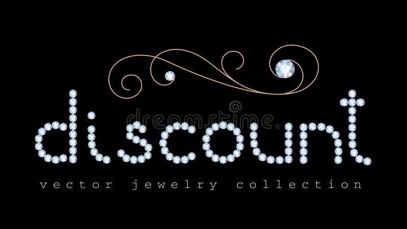 Kortingsbanner met de brieven van diamantjuwelen stock illustratie