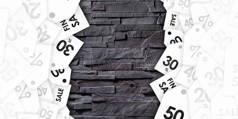 Kortingscoupons op textuur van grijze muur royalty-vrije stock afbeelding