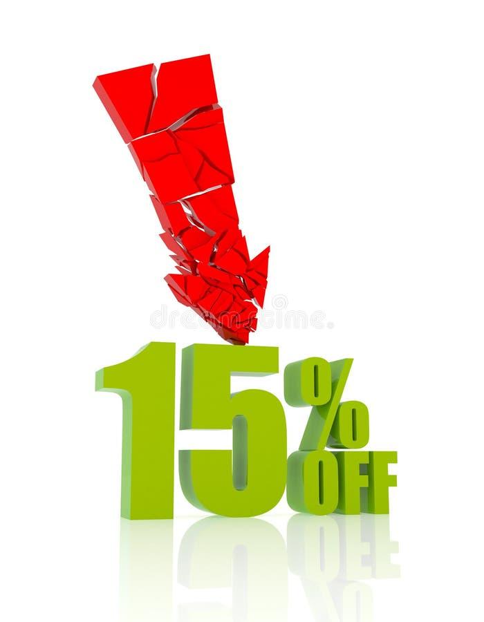 15% kortingspictogram vector illustratie