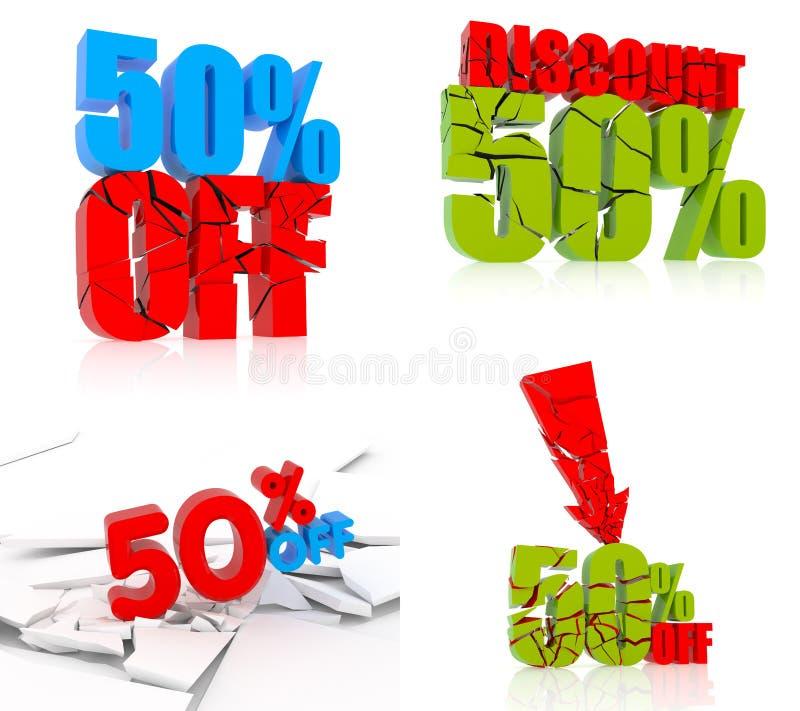 50% kortingsreeks royalty-vrije illustratie