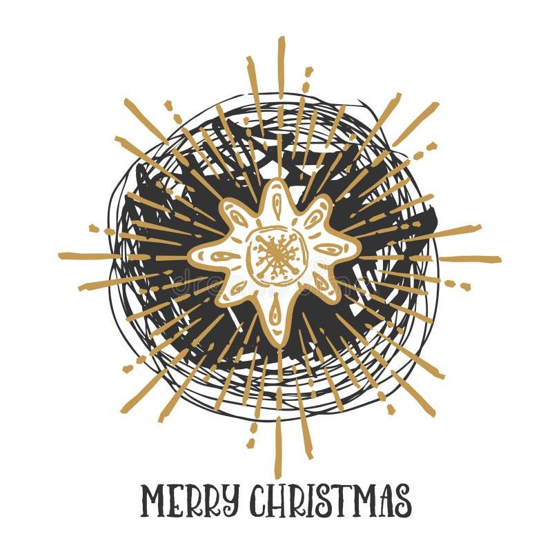 kortjul som greeting Julgranar som täckas med snö, snöflingor, modeller som märker - glad jul royaltyfri illustrationer