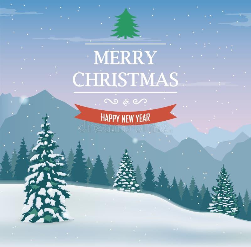 kortjul som greeting lyckligt glatt nytt år Vinterlandskap med snöträd Vectorn stock illustrationer