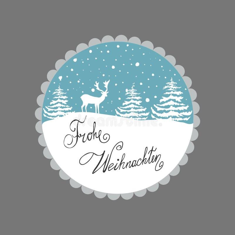 kortjul som greeting Vit snö för rengranträd flagar på blå bakgrund Dekorativt inrama Handbokstävertysk vektor illustrationer