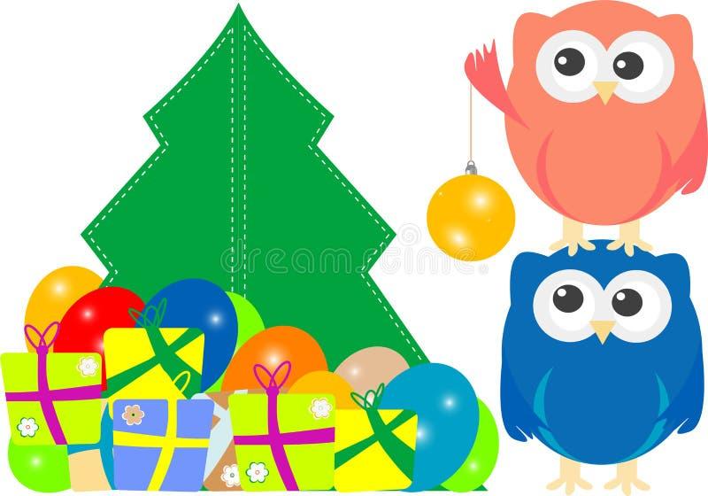 kortjulfamilj som greeting den glada owlen stock illustrationer