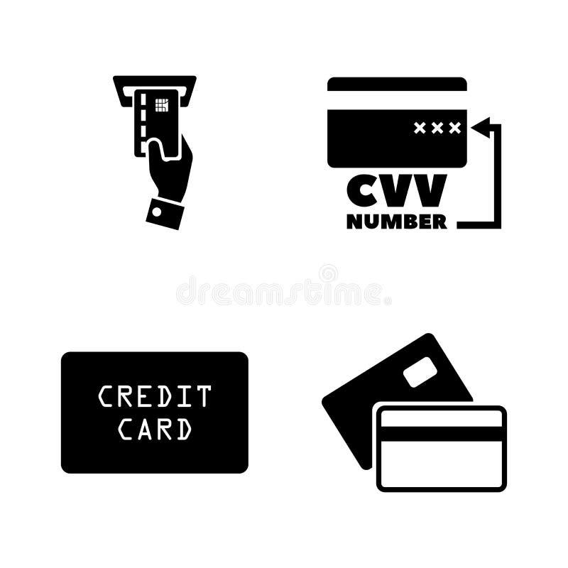 kortkreditering s Enkla släkta vektorsymboler vektor illustrationer
