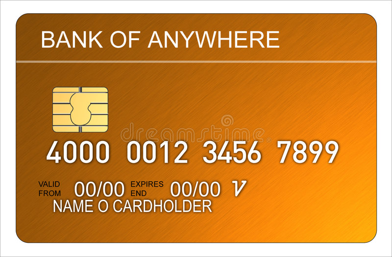 kortkrediteringsguld royaltyfri illustrationer