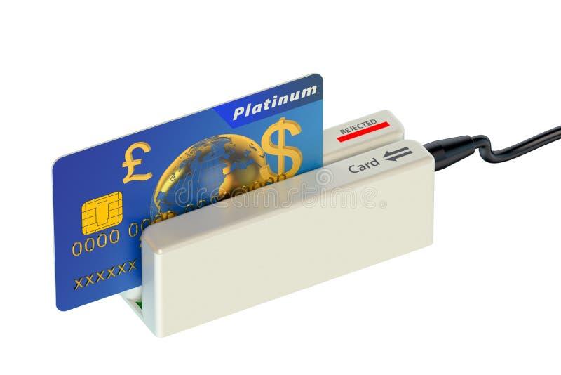 Kortläsare och kreditkort vektor illustrationer