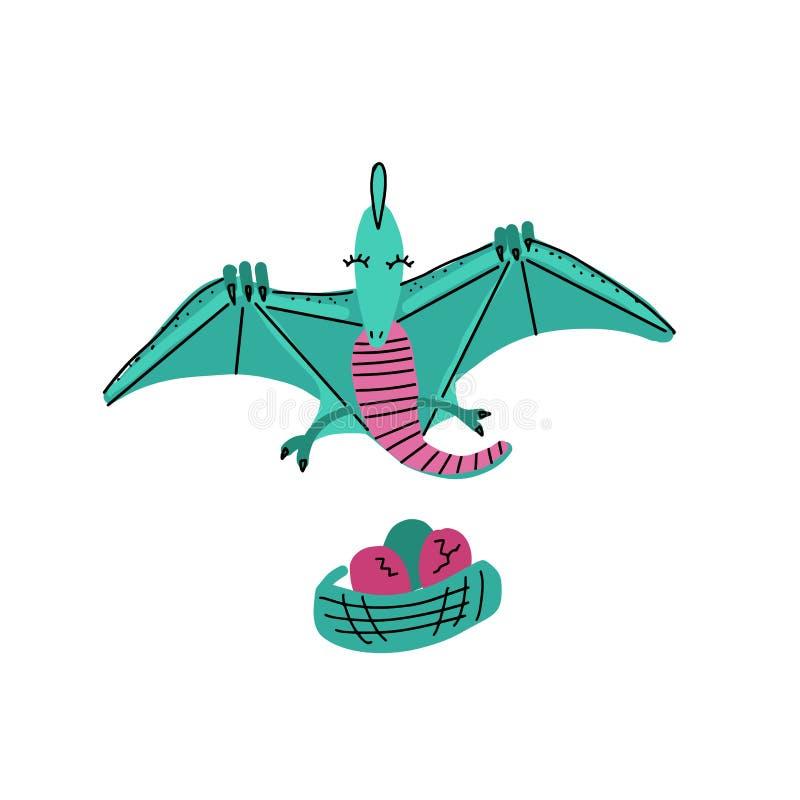 Kortmall med gulligt Dino flygödlaflyg över redet med ägg Utdraget scandinavian vektordiagram för hand för typografi stock illustrationer