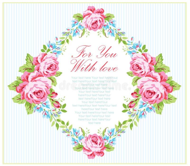 Kortmall med rosor för trädgårds- rosa färger royaltyfri illustrationer