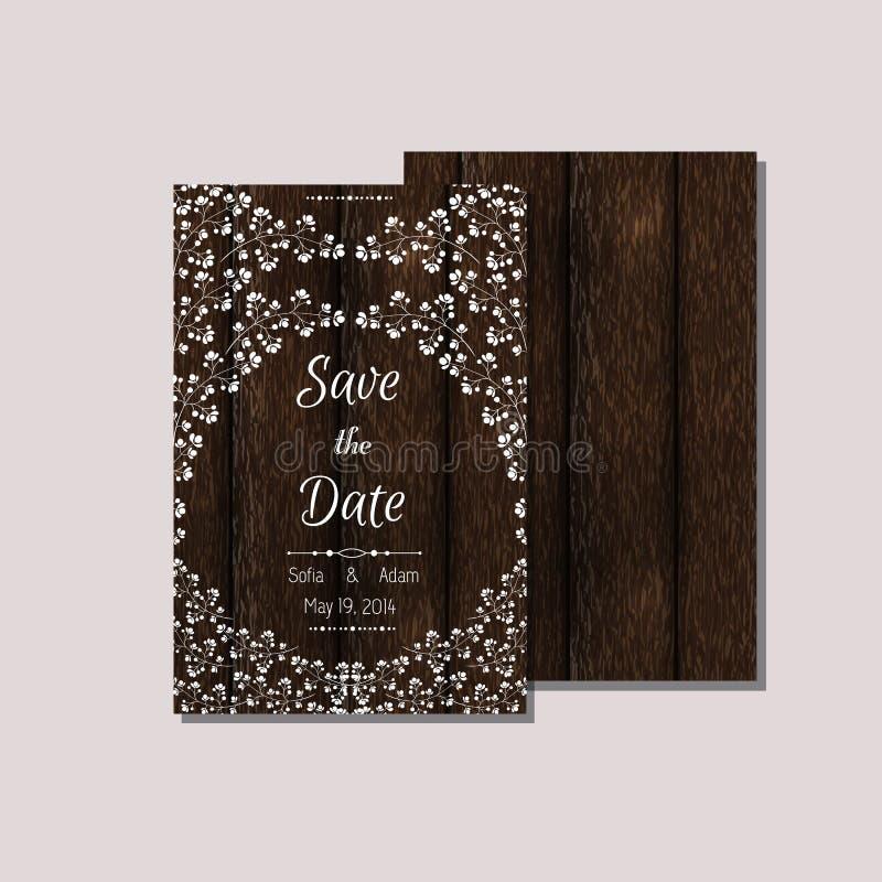 Kortmallar på wood bakgrund vektor illustrationer