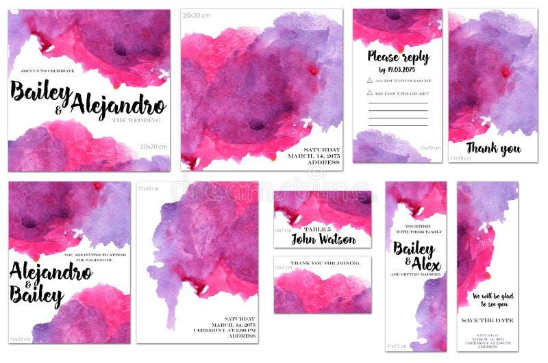Kortmallar ställde in med purpurfärgad och karmosinröd vattenfärgfärgstänkbakgrund; konstnärlig design för affären, bröllop, årsd vektor illustrationer