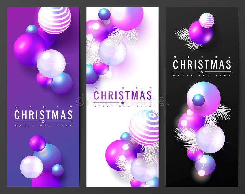 Kortsamling för 2019 glade jul och för lyckligt nytt år med kulöra bollar modern design Universell vektorbakgrund vektor illustrationer