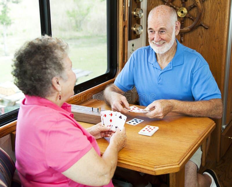 kortspelrv-pensionärer royaltyfria foton