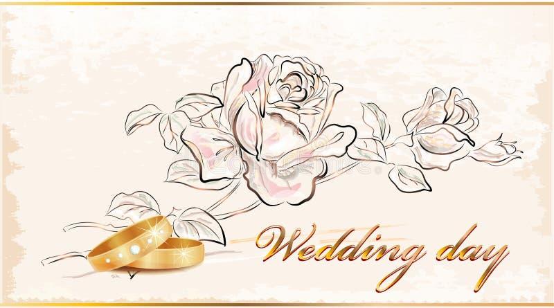 korttappningbröllop stock illustrationer