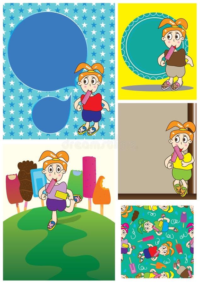 korttecknad filmkräm äter seten för eps-flickais stock illustrationer