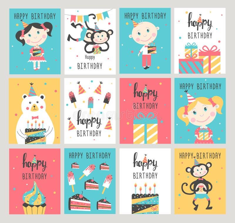 Kortuppsättning för lycklig födelsedag stock illustrationer