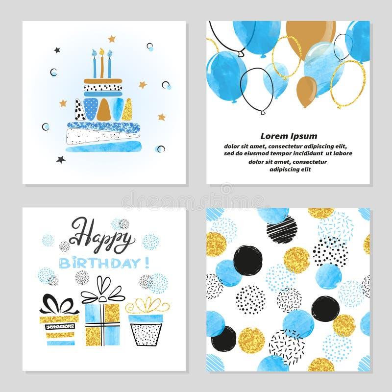 Kortuppsättning för lycklig födelsedag i blåa och guld- färger stock illustrationer