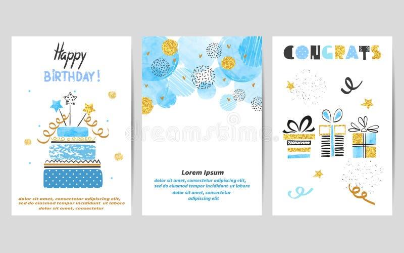 Kortuppsättning för lycklig födelsedag i blåa och guld- färger vektor illustrationer