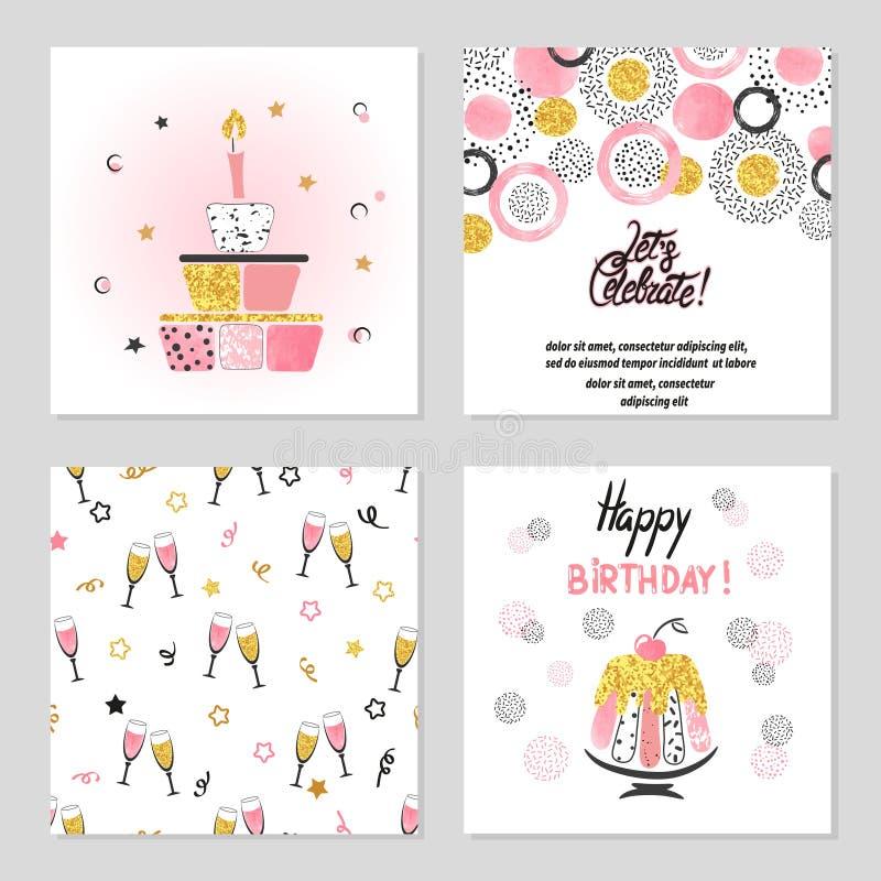 Kortuppsättning för lycklig födelsedag i rosa och guld- färger royaltyfri illustrationer