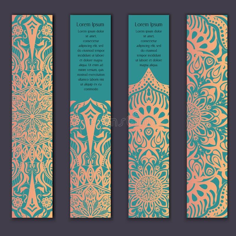 Kortuppsättningen med blom- snör åt dekorativ mandalabeståndsdelbakgrund Asiatiska indiska orientaliska utsmyckade baner stock illustrationer