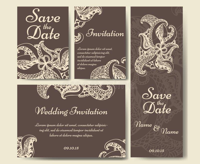 Kortvektormall för att gifta sig Uppsättningen av inbjudningar för tackar dig att card, sparar datumkortet, mors dag vektor illustrationer